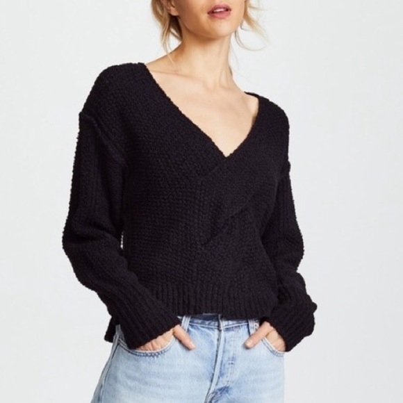 top-rated real new style of 2019 hot-selling authentic Free People Chunky Black Coco V-neck Knit Sweater